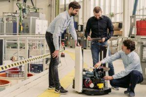 Gestalt Robotics wurde 2016 gegründet von einem Raketeningenieur, einem Roboterfachmann und einem Vision-Experten. v.l.n.r. Dr. Eugen Funk, Thomas Staufenbiel, Dr. Jens Lambrecht. Bild: Gestalt Robotics