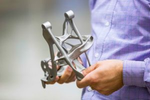 GM joined forces with Autodesk to develop the first 3D-printed and functionally optimised seat holder. Photo: GM