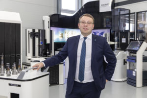 """""""All digital options have to be rigorously implemented – from the tool itself, then the tool-holder, including the clamping operation and balancing, all the way through to tool presetting and deployment on the machine,"""" to quote Andreas Haimer, General Manager at Haimer GmbH. Photo: Haimer"""